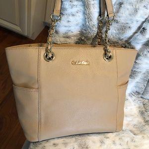 Calvin Klein Leather Shoulder Bag with Dust Jacket
